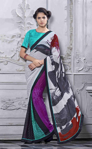 Multicolored Designer Shimmer georgette saree within 3500