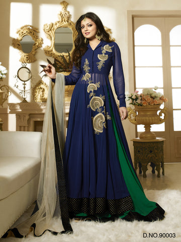 Navy Blue,Georgette,Heavy party wear designer suits
