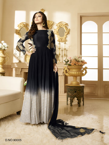 Black,Georgette,Heavy party wear designer suits