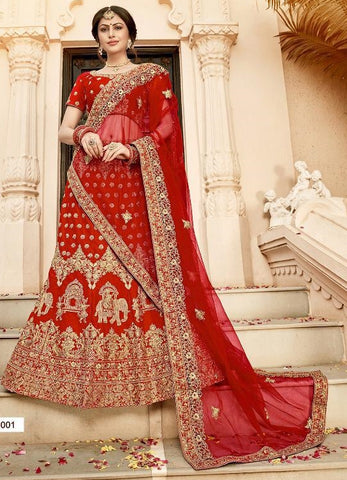 Red Silk Party Wear  Lehenga With Red Dupatta