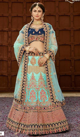 Blue Silk Party Wear  Lehenga With Blue Dupatta