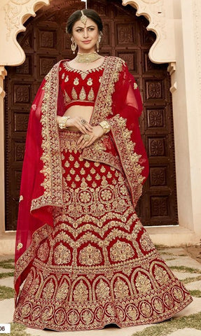 Red Velvet Party Wear  Lehenga With Red Dupatta