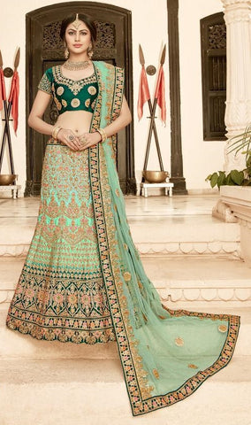 Green Silk Party Wear  Lehenga With Green Dupatta