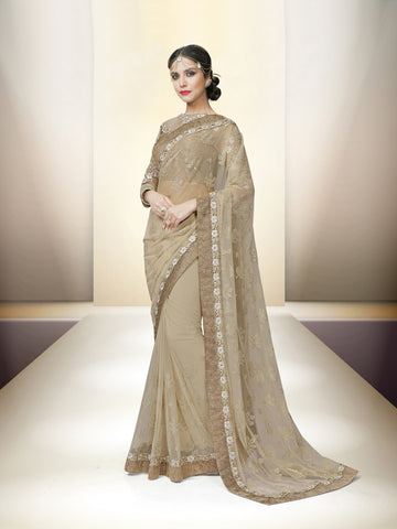 Light Beige,Net,Party wear designer saree