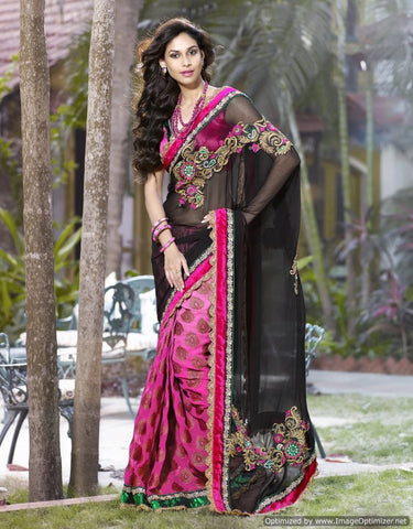Pink saree with black pallu fabric bambreng and viscose saree with dhupian blouse