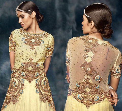 Beige,Pure Silk , Pure Soft Net,Heavy designer anarkali suits