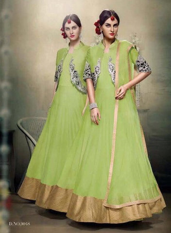 Green,Bangalori silk,Heavy designer party wear suits