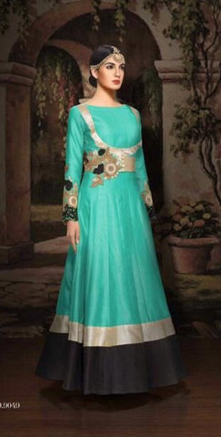 Blue,Bangalori silk,Heavy designer party wear suits