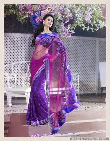 Purple saree , net brasso with dhupian blouse