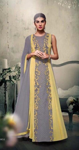 Grey , Yellow,Georgette,Heavy designer party wear suits