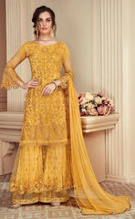 Yellow Net Sharara Salwar Kameez With  Dupatta