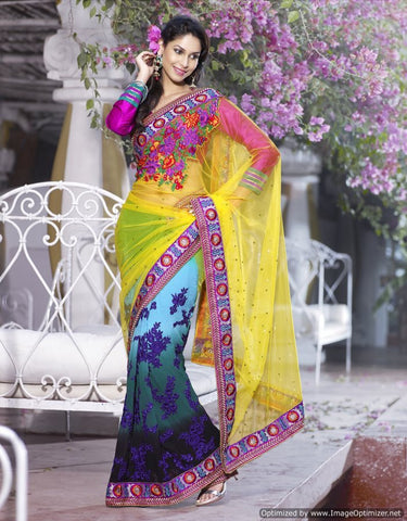 Bembreng net saree with dhupian blouse multicolor saree with hues of yellow, pink and blue