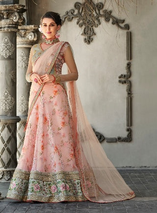 Peach Organza Silk Party Wear Lehenga With Peach Dupatta