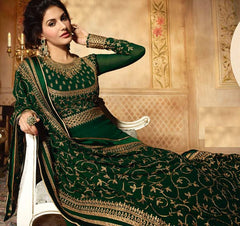 Green Georgette Party Wear  Anarkali Suit With Green Dupatta