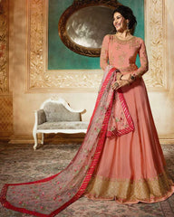 Peach Net Party Wear  Anarkali Dress With Peach Dupatta
