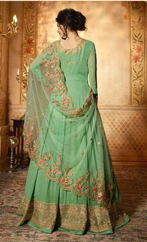 Green Net Party Wear  Anarkali Suit With Beige Dupatta