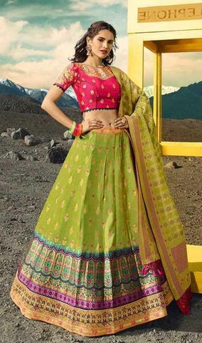Green Silk Party Wear Lehenga With Pink Choli And Green Dupatta