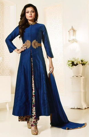 Blue,Chanderi silk,Party wear designer suits