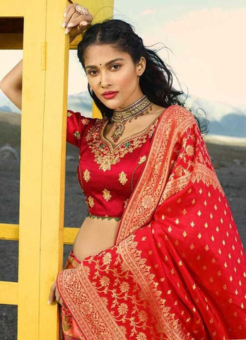 Orange Silk Party Wear Lehenga With Red Choli And Red Dupatta