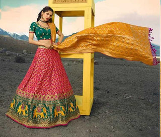 Pink Silk Party Wear Lehenga With Green Choli And Yellow Dupatta