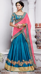 Blue Stain Leheng With Heavy Embroidered Choli And Dupatta