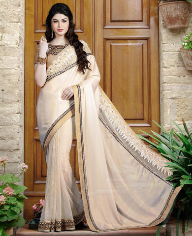 Beige Chiffon Saree With Beige Blouse