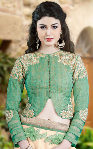Beige Chiffon Saree With Green Blouse