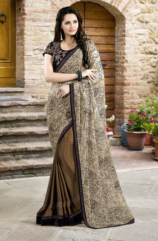 Brown Chiffon Saree With Velvet Blouse