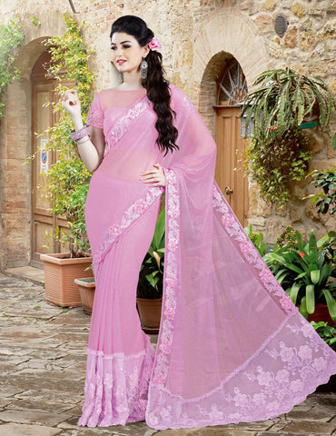 Lycra , Net,Pink,Designer party wear saree