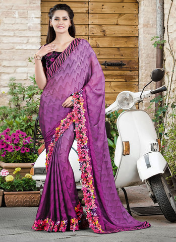 Purple Silk Saree With Velvet Blouse