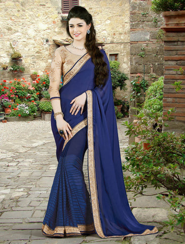 Silk Georgette,Blue,Designer party wear saree