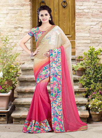 Pink & Beige Printed Saree With Printed Blouse