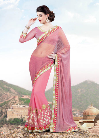Lycra Net, Net ,Pink,Designer party wear saree