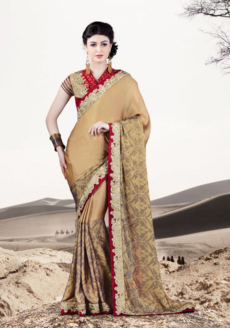 Beige Silk Georgette Saree With Red & Beige Blouse