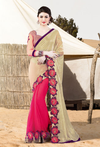 Beige & Pink Net Saree With Pink Blouse