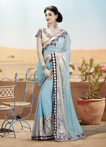 Blue Net Saree With Blue & Beige Blouse
