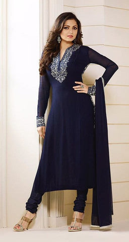 Navy,Georgette,Party wear designer straight suits