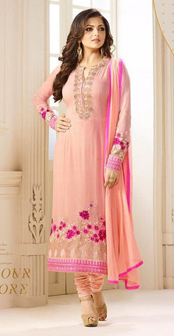 Peach,Georgette,Party wear designer straight suits