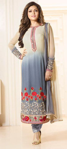 Grey,Georgette,Party wear designer straight suits