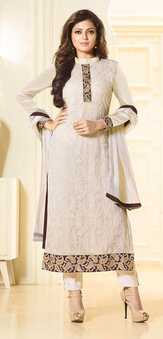 White,Georgette,Party wear designer straight suits