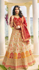 Beige Silk Party Wear Lehenga With Red Choli And Red Dupatta
