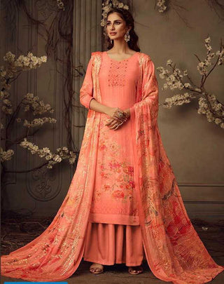 Orange Muslin Party Wear Salwar Kameez With  Dupatta