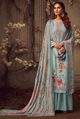Dull Blue Muslin Party Wear Salwar Kameez With  Dupatta