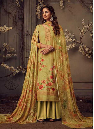 Mehndi Green Muslin Party Wear Suit With  Dupatta