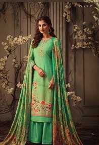 Green Muslin Party Wear Suit With  Dupatta
