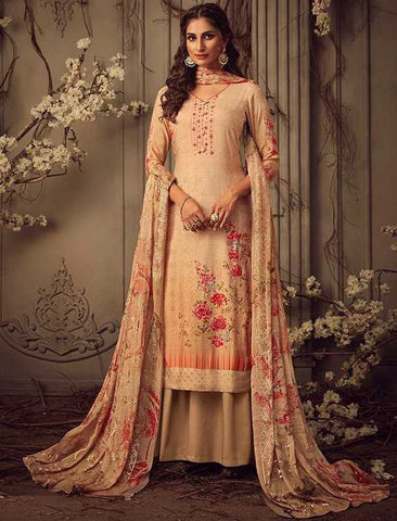 Beige Muslin Party Wear Salwar Suit With  Dupatta