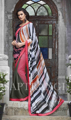 Saree Multi Colour,Georgette