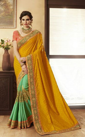 Orange Silk Saree With Orange Blouse