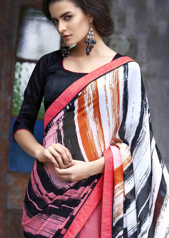 Multi colored printed designer saree