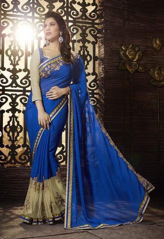 Blue,Georgette,Jacquard,Designer saree party wear saree with heavy work